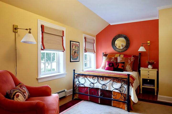 терракотовый цвета при оформлении спальни2