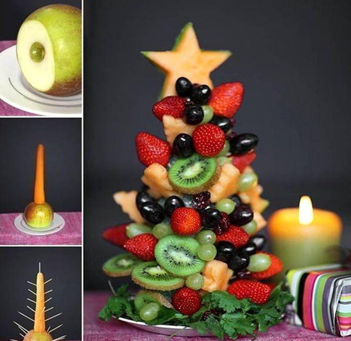 Елочка из фруктов своими урками на Новогодний стол