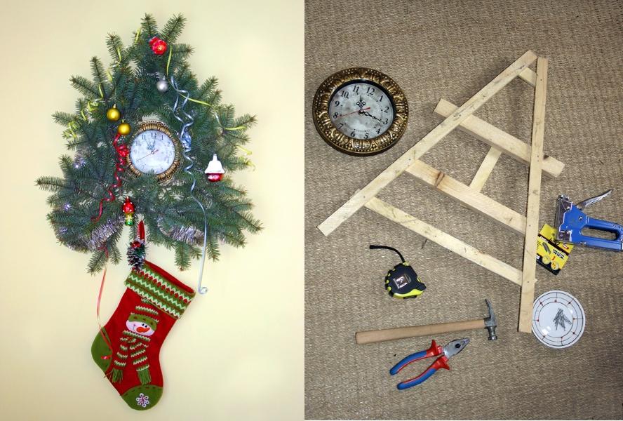 Декор новогодних часов еловыми веточками