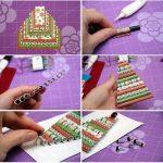 Фото 52: Изготовление открытки с елочкой из бумажных трубочек