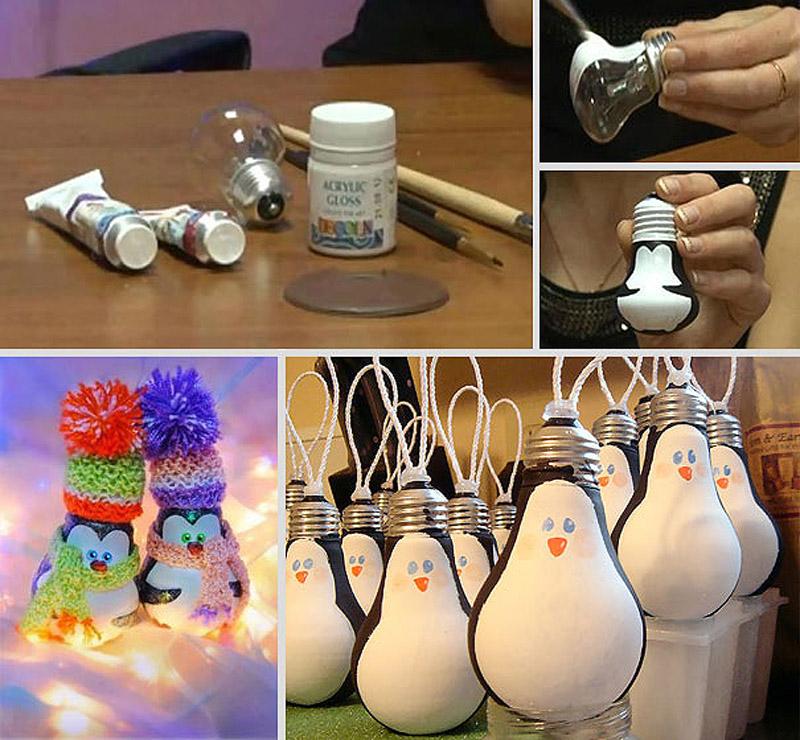 Елочные игрушки пингвины из лампочек своими руками