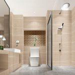 Фото 35: Матовая керамогранитная плитка в ванной