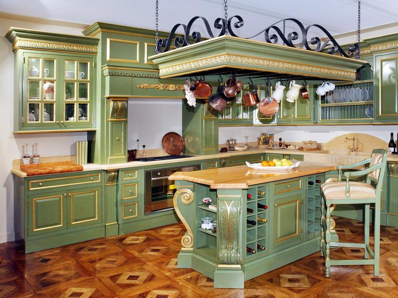 Использование места под потолком при островном варианте кухни