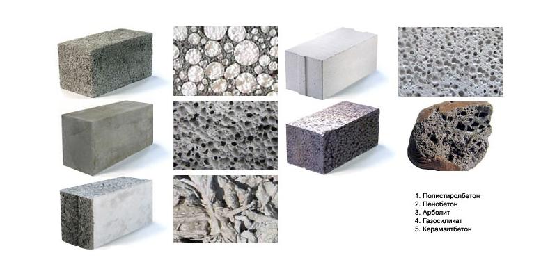 Виды пеноблоков по составу