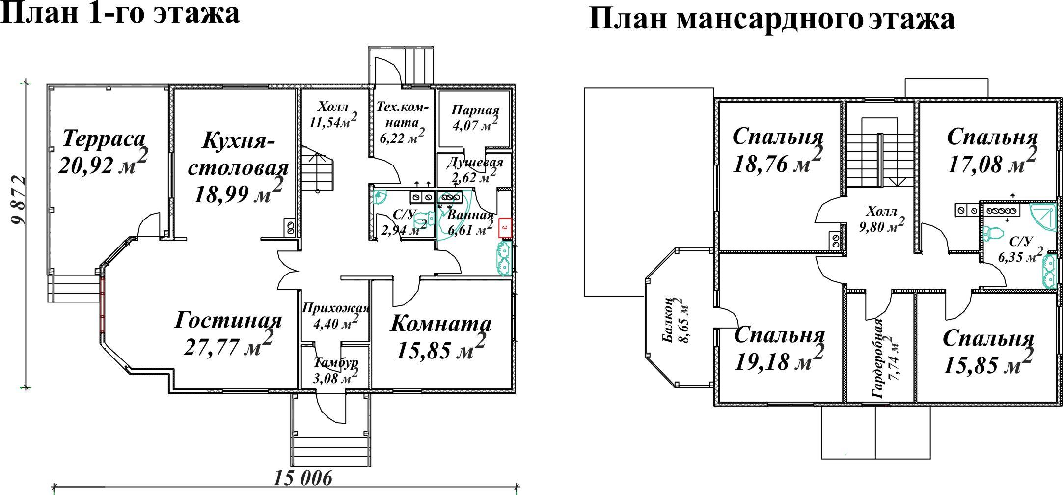 Планировка двухэтажного дома с парилкой