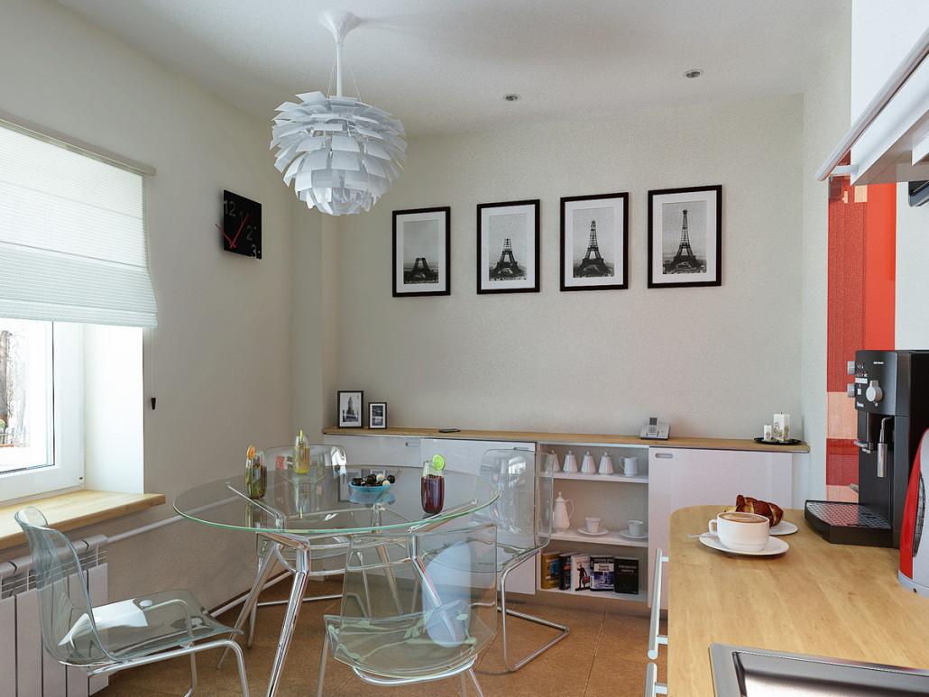 Прозрачный столик на кухне