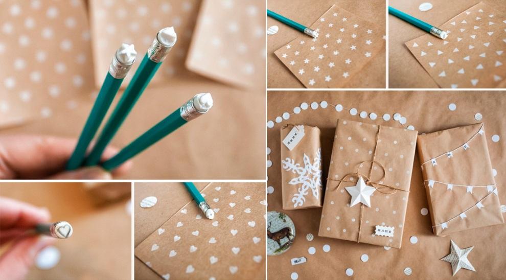 новогоднее украшение упаковки штампами