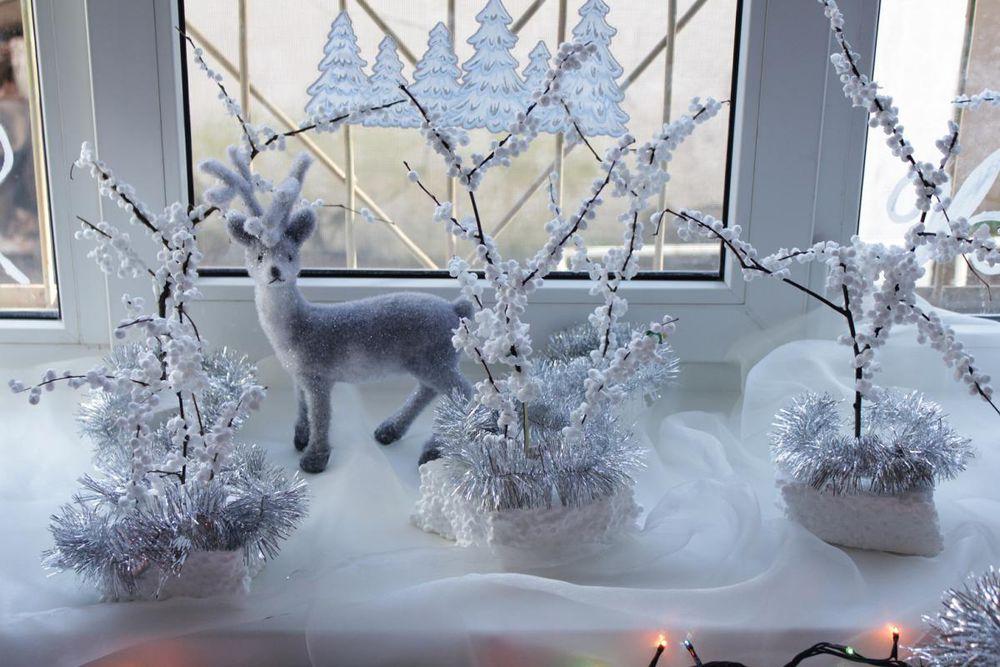 Снежный пейзаж на подоконнике к Новому Году