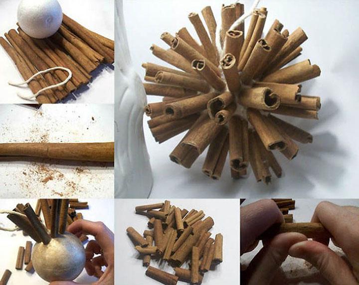 Рождественский елочный шарик из корицы своими руками