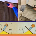 Фото 34: Угол нанесения плитки на стену при помощи зубчатого шпателя