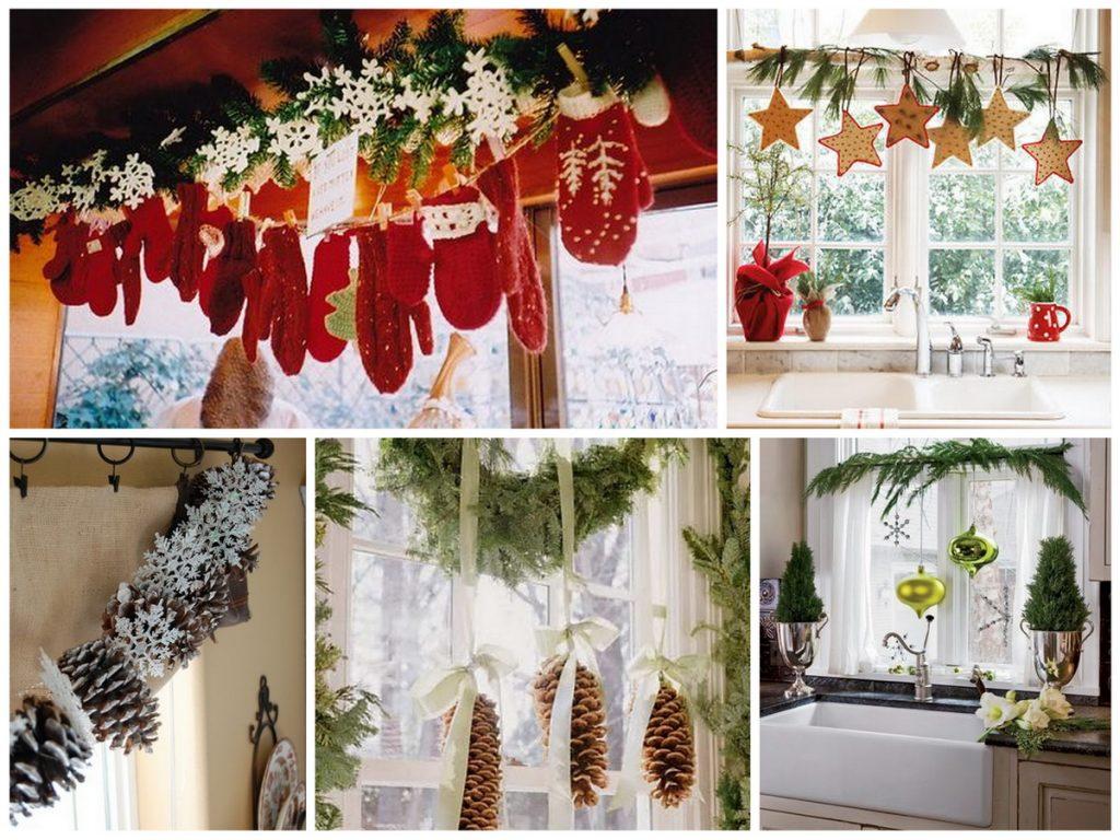 Новогодние гирлянды из еловых веток на окно