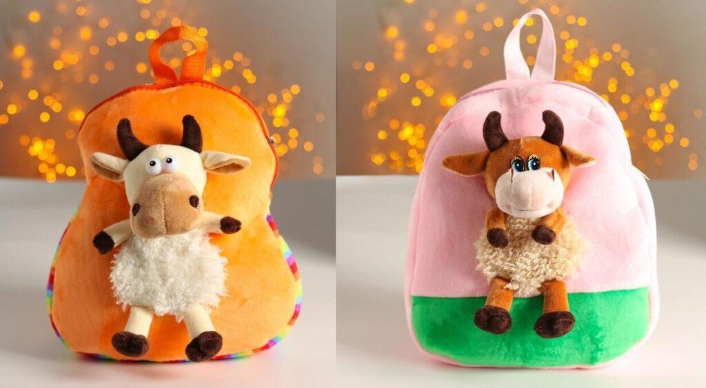 Новогодний рюкзачок с игрушкой на Год Быка для сладкого подарка