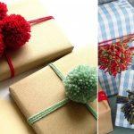 Фото 54: Новогодняя упаковка подарков помпонами