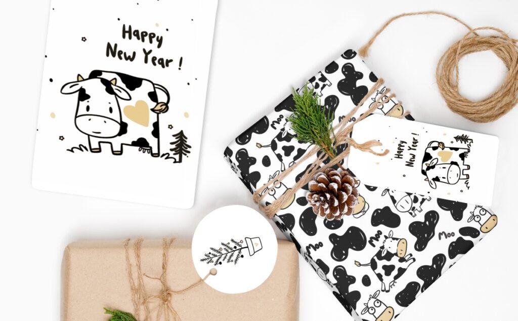 Новогодняя упаковка к Году Быка с принтом коровы