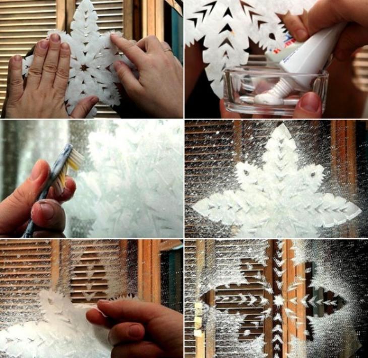 Новогодний рисунок на окне с помощью трафарета и пасты