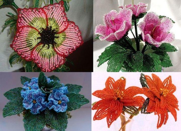 Разнообразие цветов из бисера