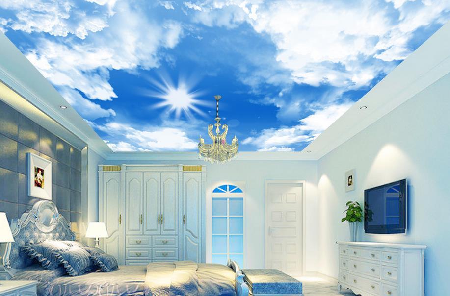 Натяжной 3D потолок в виде неба