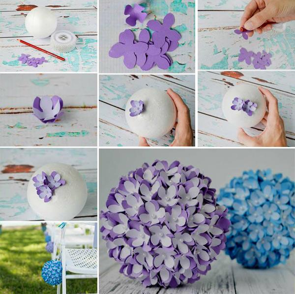 Декор новогоднего шара бумажными цветочками