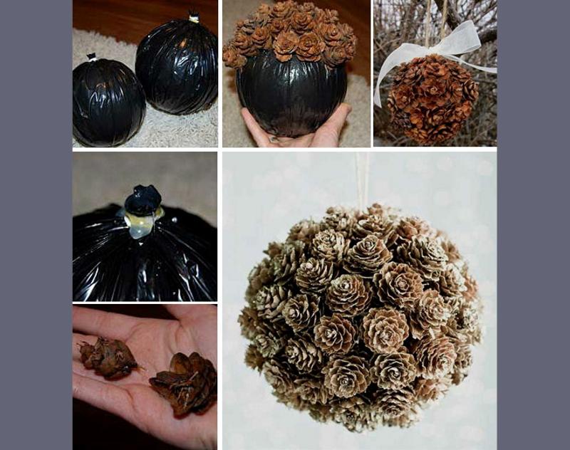 Украшение елочного шара натуральными шишками
