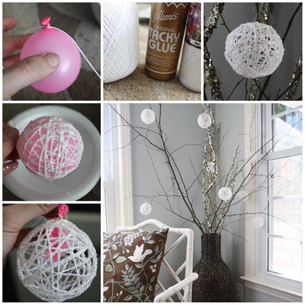Изготовление новогоднего шарика из ниток
