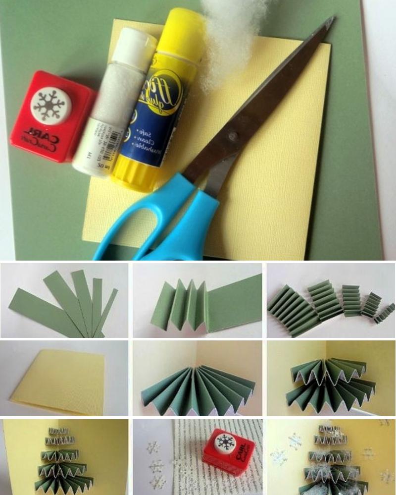 Изготовление открытки с елочкой - гармошкой