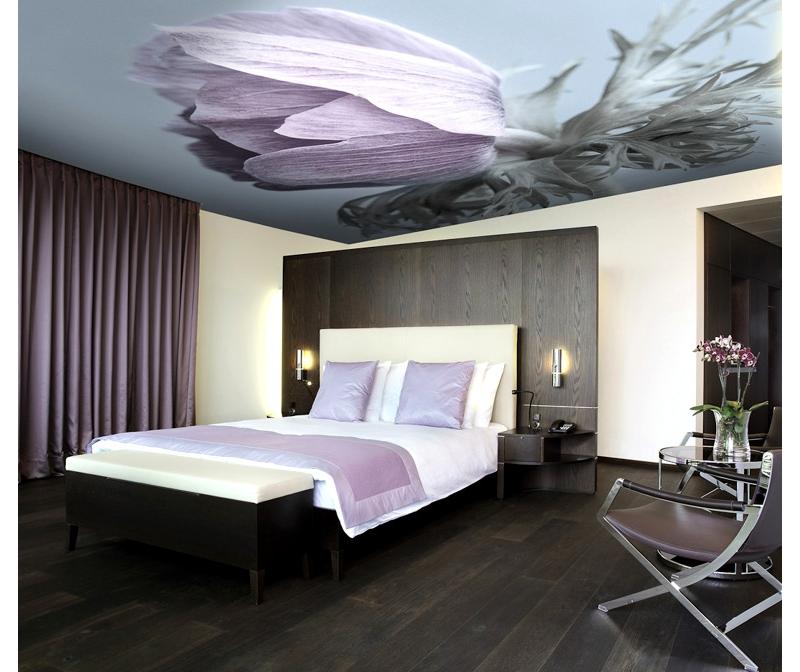 Натяжной фотопотолок, сочетающийся с убранством комнаты