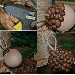 Фото 69: Украшение новогоднего шара кофейными зернами