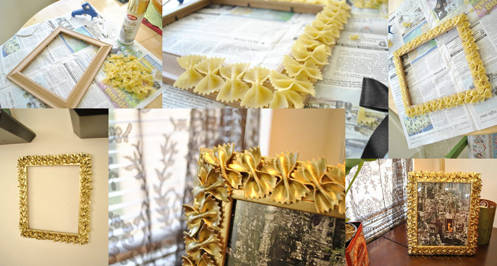 Украшение рамки макаронами