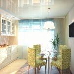 Фото 57: Натяжной потолок на кухне