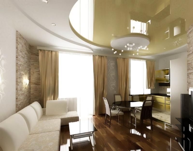 Плавный переход из зоны кухни в гостиную с помощью натяжного потолка