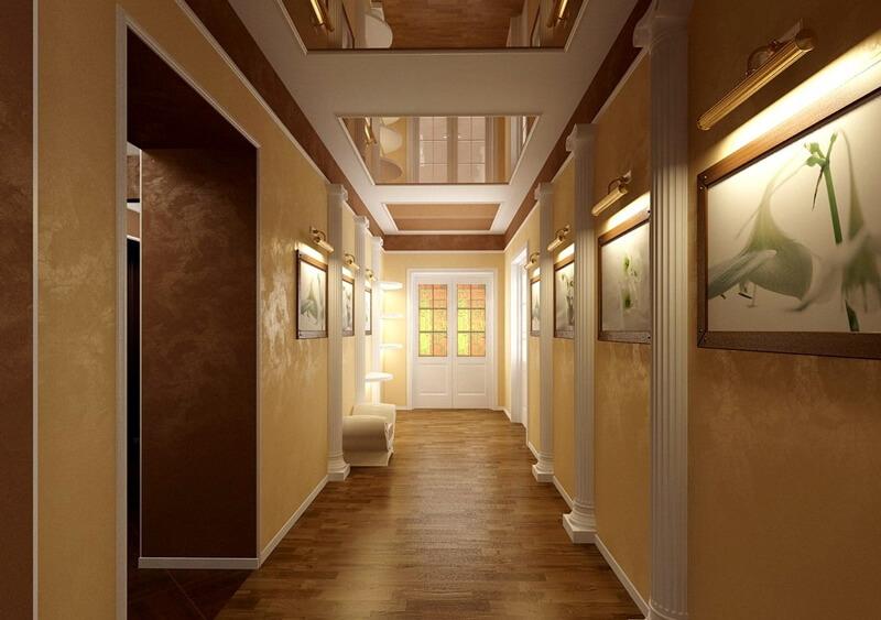Квадратные элементы натяжного потолка в коридоре
