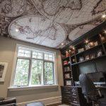 Фото 66: Натяжной потолок в виде карты для кабинета