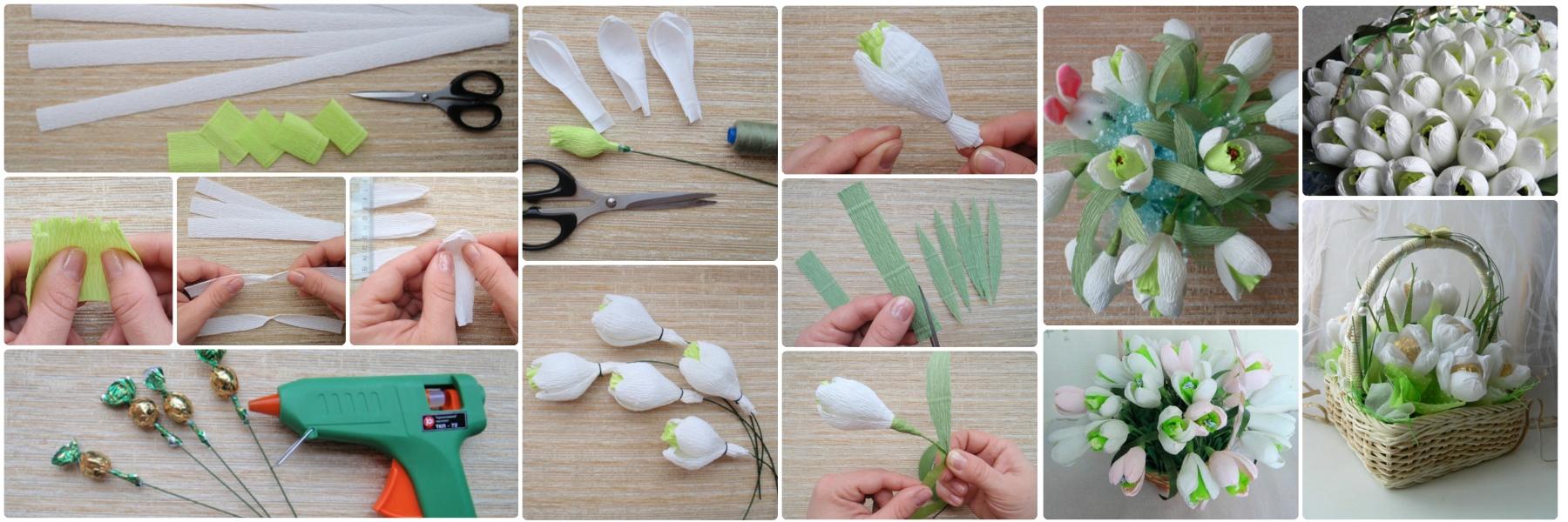 Изготовление тюльпанов из конфет и гофрированной бумаги