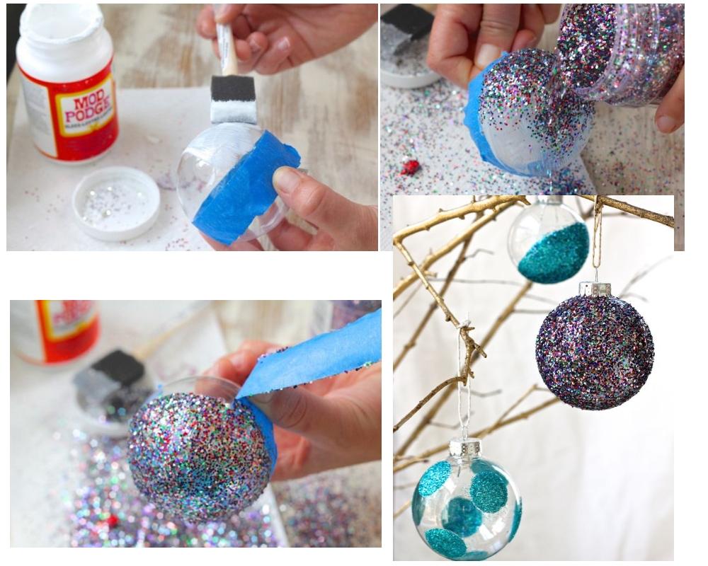 Украсить елочный шар блестками