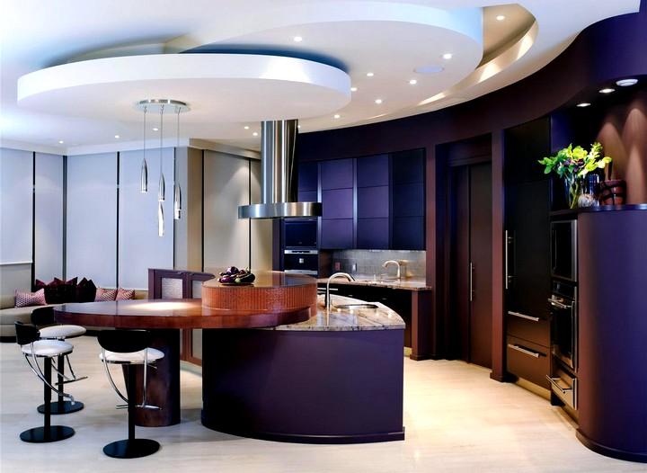 Дизайн потолка на кухне (3)