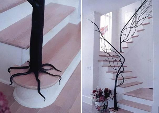 Перила для лестницы в виде ствола дерева