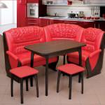 Фото 18: Кожаный красный кухонный уголок