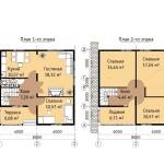 Фото 9: Проект двухэтажного дома 8х8 с мебелью