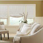 Фото 74: Белые римские шторы в гостиной