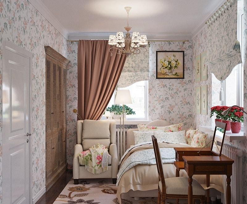 Римские шторы в спальне в стиле прованс