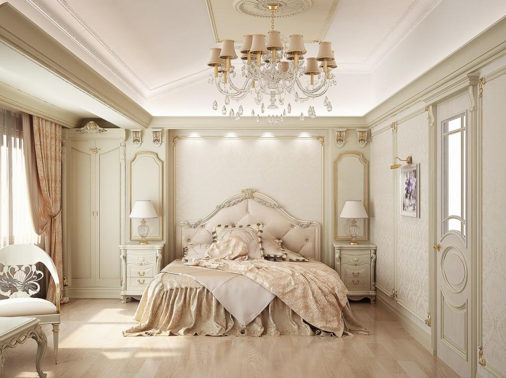 Бежевая классическая кровать