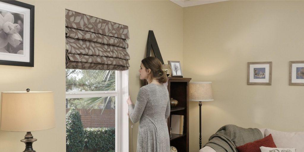 Римские шторы в классическом стиле в гостиной