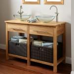 Фото 16: Деревянный умывальник с двумя раковинами и функциональными ящиками