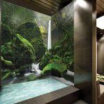 Фото 63: плитка в ванной с печатью под водопад