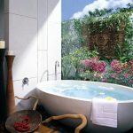 Фото 58: Отделка стены плиткой в ванной плиткой с фотопечатью
