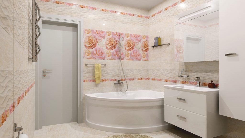 Плитка с рисунком в ванной комнате
