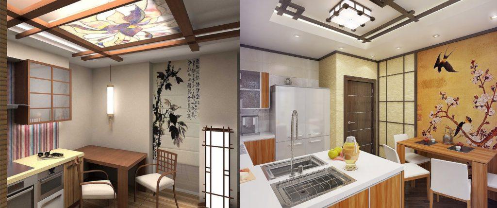 Плоские люстры для кухни в восточном стиле