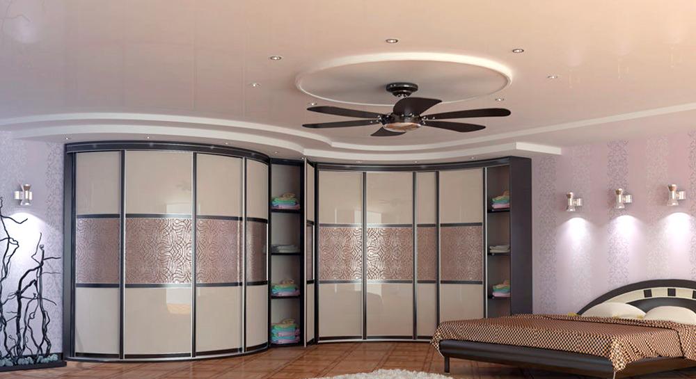 Зонирование помещения радиусными угловыми шкафами