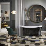 Фото 79: Шестиугольная напольная плитка в ванной