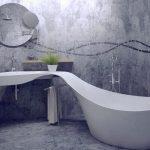 Фото 98: Дизайнерская плитка в ванной под бетон с надписями